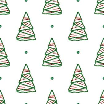 シームレスな手はキラキラパターン背景を持つchistmasツリーを描く