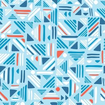 シームレスな手描きのフォークパターン。織り線飾り。青と赤の色