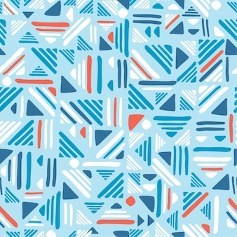 Seamless hand draw folk patter. weave lines ornament. blue and red colors