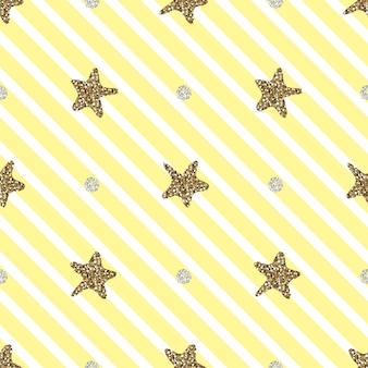 Seamless  hand draw gold glitter star and dot shape pattern yellow stripe background