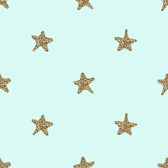 Seamless  hand draw gold glitter star shape pattern background
