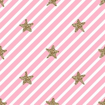 Seamless  hand draw gold glitter star shape pattern pink stripe background