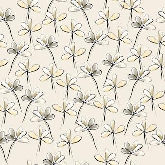수채화에서 흑백 꽃과 원활한 손 그리기 패턴