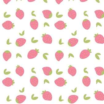 Seamless hand draw strawberry pattern background. vector illustration.