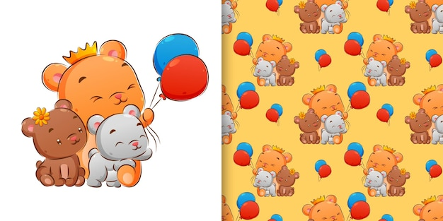 Seamless hand drawing of bears with balloons illustration