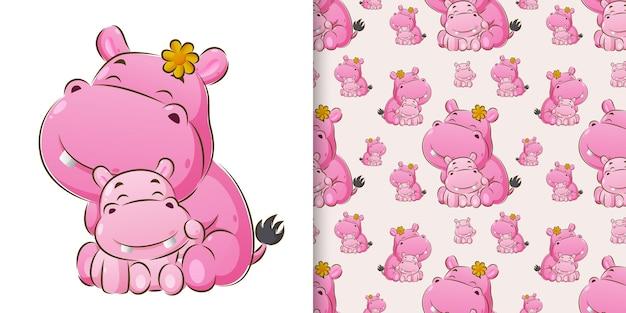Бесшовный ручной рисунок бегемота, сидящего со своей маленькой детской иллюстрацией