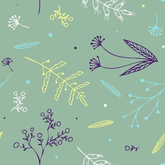 Seamless hand drawn autumn flower pattern with pastel color in vector