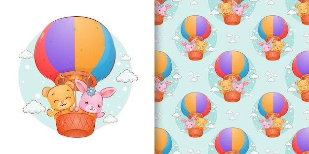 The seamless hand drawn of the bear and the rabbit floating with the gas balloons of illustration