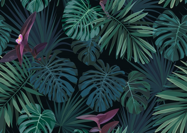 Seamless hand drawn botanical exotic pattern with green palm leaves on dark background.