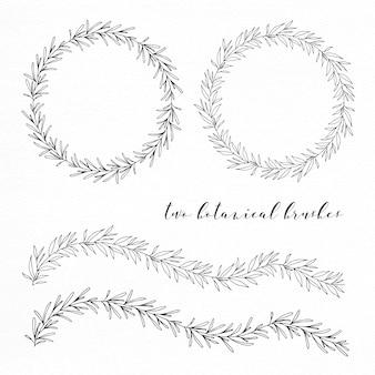 Seamless hand drawn botanical wreaths