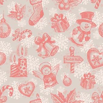 シームレスな手描きのクリスマスパターン