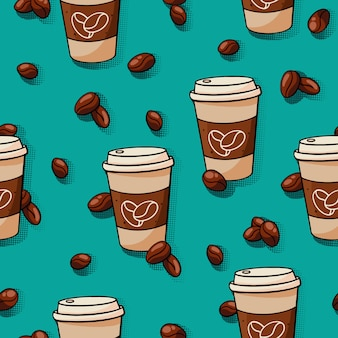 Seamless hand drawn coffee pattern with cups