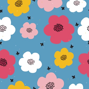 Seamless hand drawn colorful floral pattern