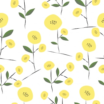 Seamless hand drawn cute spring floral pattern