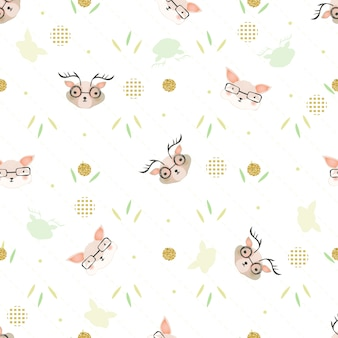 Seamless hand drawn doodle glitter deer and fox pattern background