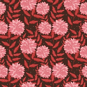 Seamless hand drawn floral pattern in pink flowers