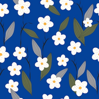 Seamless hand drawn flowers pattern