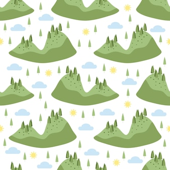 Seamless hand drawn green forrest island pattern on white background