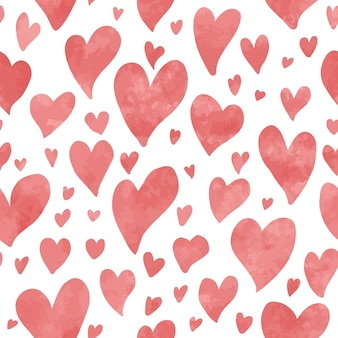Seamless hand drawn hearts pattern