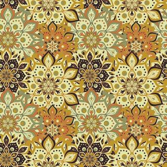 オリエンタのシームレスな手描きの曼荼羅パターンのヴィンテージ要素