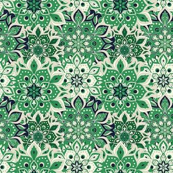 오리엔타에서 원활한 손으로 그린 만다라 패턴 빈티지 요소