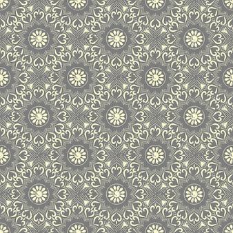 シームレスな手描きの曼荼羅パターン。グランジ効果を持つオリエンタルスタイルのヴィンテージ要素。
