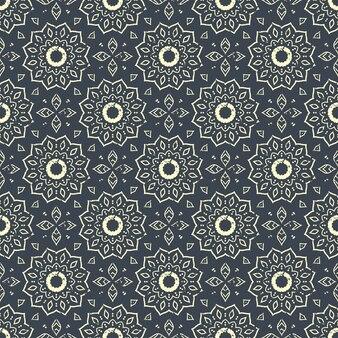 シームレスな手描きのマンダラパターン。オリエンタルスタイルのヴィンテージの要素