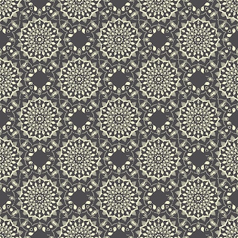 Seamless hand drawn mandala pattern. vintage elements in oriental style with grunge effect.