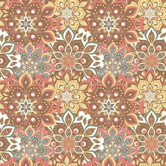 Seamless hand drawn mandala pattern. vintage elements in oriental style.