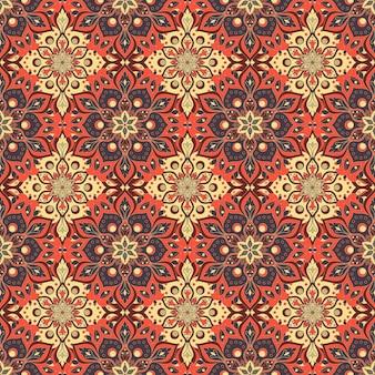 원활한 손으로 그린 된 만다라 패턴입니다. 빈티지 오리엔탈 스타일.