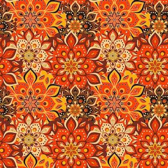 シームレスな手描きの曼荼羅のシームレスなパターン。
