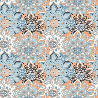 Seamless hand drawn mandala seamless pattern.