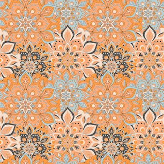 Seamless hand drawn mandala seamless pattern