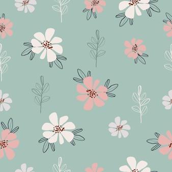 シームレスな手描きパステル花柄の背景ベクトル