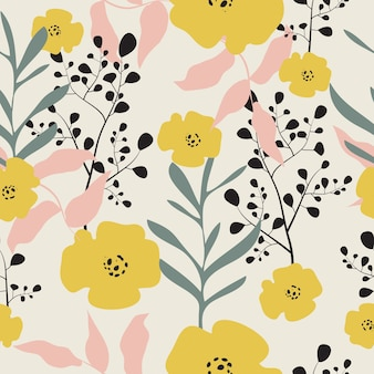 Seamless hand drawn pastel floral pattern background