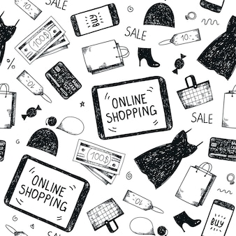 Seamless hand drawn pattern. online shopping doodle background
