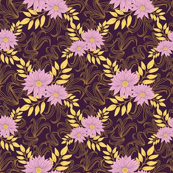 Seamless hand drawn pattern in purple flowers