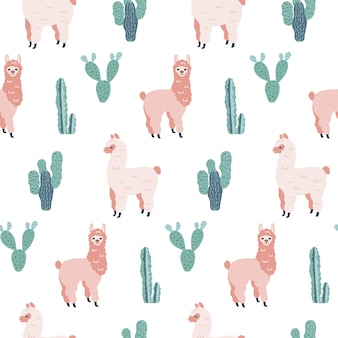 Seamless hand drawn pattern with alpacas and cacti.