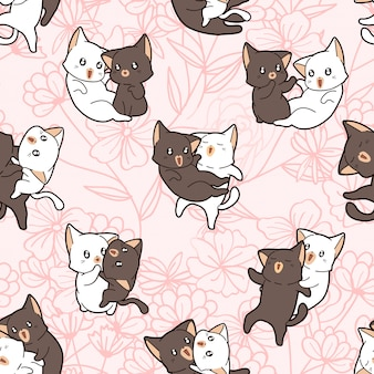 Seamless hand drawn pattern with cat couple