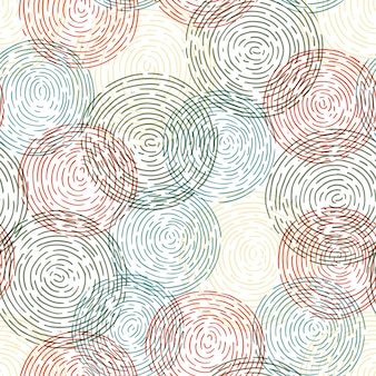 Seamless hand-drawn pattern with doodle circle.