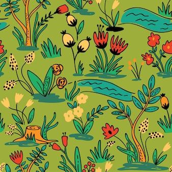 꽃과 원활한 손으로 그린 패턴입니다. 원활한 패턴은 벽지, 패턴 채우기, 웹 페이지 배경, 표면 질감에 사용할 수 있습니다.
