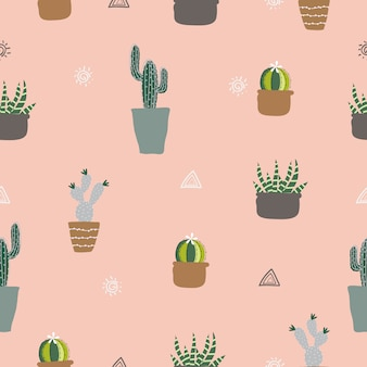 Seamless hand drawn potted plants, cactus pattern background