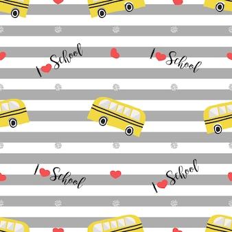 グレーのストライプの背景にハートとシルバードットの輝きのパターンとシームレスな手描きのスクールバス
