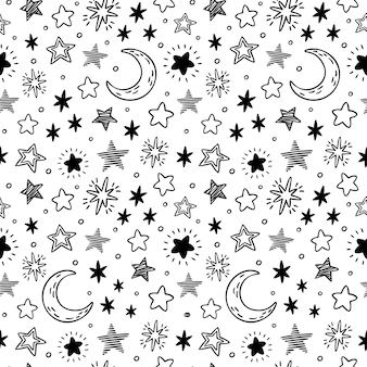 Seamless hand drawn stars. starry sky sketch, doodle star and night  pattern illustration