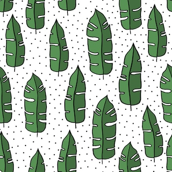 Seamless hand drawn tropical pattern.