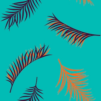 Seamless hand drawn tropical summer pattern with colorful palm leaves