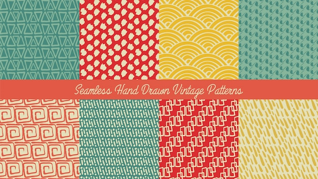 Seamless hand drawn vintage pattern set, hand drawn abstract pattern