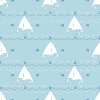 シームレスな手描きのyatchと青い背景に青いドットの輝きのパターンと波