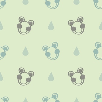 Seamless hand drwan frog with raindrop pattern background