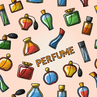 Seamless handdrawn pattern with perfume handdrawn icons set with different shapes of bottles.